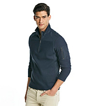 Calvin Klein Men's Atlantic Blue Long Sleeve Quarter Zip Jaquard Rib Knit