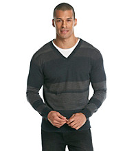Calvin Klein Men's Battleship Stripe Slub V-Neck Sweater