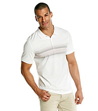 Calvin Klein Men's White Short Sleeve Jersey Stripe Polo