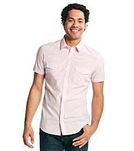 Calvin Klein Men's Pink Blush Short Sleeve Check Poplin Woven