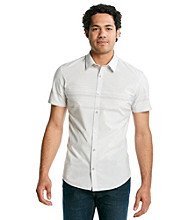 Calvin Klein Men's Pearl Blue Short Sleeve Engineered Stripe Woven