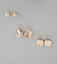 Studio Works® Collection Set of Three Goldtone/Shell Stud and Fishook Earrings