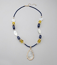 Laura Ashley® Roped Necklace with Beaded Accents and Teardrop Pendant Piece