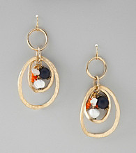 Laura Ashley® Hammered Goldtone Fishook Drop Earrings