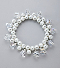 Studio Works® Crystal/Pearl Shaky Stretch Bracelet