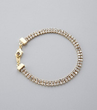 BT-Jeweled Goldtone Two Row Crystal Bracelet