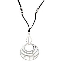 Jessica Simpson Black Cord and Silvertone Open Cage Pendant Necklace