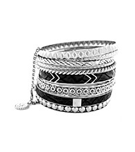 Jessica Simpson Black and Silvertone Studded Bangle Set