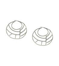 Jessica Simpson Silvertone Cage Hoop Earrings