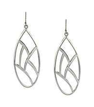 Jessica Simpson Silvertone Cage Drop Earrings