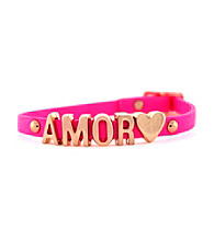 BCBGeneration™ Neon Pink and Rose Goldtone Amor Mini Affirmation Bracelet