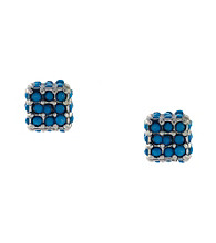 BCBGeneration™ Flirty Fringe Silvertone/Blue Stud Earrings