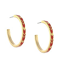 BCBGeneration™ Goldtone and Red Chevron Hoop Earrings