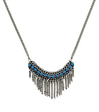 BCBGeneration™ Flirty Fringe Blue Stone Frontal Necklace
