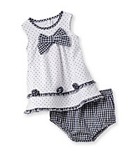 Little Me® Baby Girls' White/Navy Dot and Check Dress Set