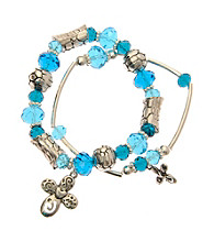 L&J Accessories Three Row Blue Multiple Glass Stretch Bracelets