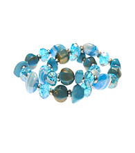 L&J Accessories Two Row Blue Shell Murano Stretch Bracelets