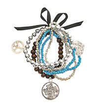 L&J Accessories Five Row Turquoise Bead Stretch Charm Bracelet