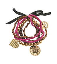 L&J Accessories Five Row Hot Pink Bead Stretch Charm Bracelet