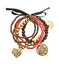 L&J Accessories Five Row Coral Bead Stretch Charm Bracelet