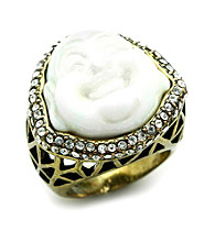 Jill Zarin Clear Crystal and Cream Resin Laughing Buddha Ring