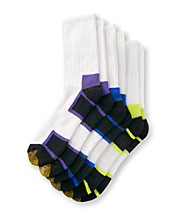 GOLDTOE® Men's Purple/Lime/Blue Cushioned Cotton 3-Pack Crew Socks