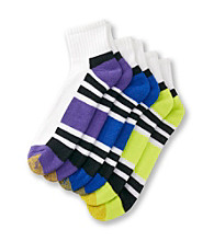 GOLDTOE® Men's Purple/Lime/Blue Cushioned Cotton 3-Pack Quarter Socks