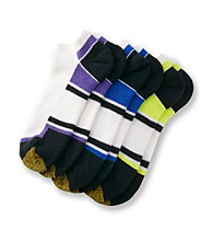GOLDTOE® Men's Purple/Lime/Blue Cushioned Cotton 3-Pack No Show Socks