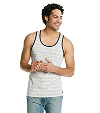 Mambo® Men's White Stripe Short Sleeve Stripe Tank Top