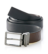 Perry Ellis Portfolio® Men's Black Saffiano Reversible Leather Belt