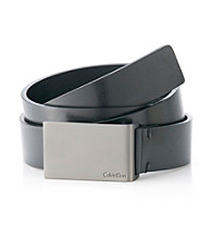 Calvin Klein Men's Black 30MM Flat Strap Leather Belt