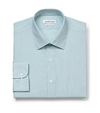 Van Heusen® Men's Sea Green Long Sleeve Check Pattern Dress Shirt