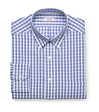 Izod® Men's Blue Long Sleeve Check Pattern Dress Shirt