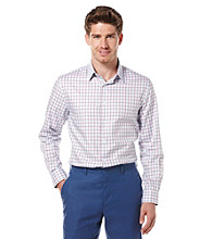 Perry Ellis® Men's Light Blue Long Sleeve Twill Grid Print Woven