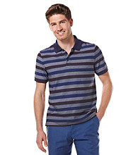 Perry Ellis® Men's Amalfi Blue Short Sleeve Plaited Striped Polo