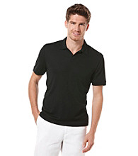 Perry Ellis® Men's Black Short Sleeve Open Collar Polo