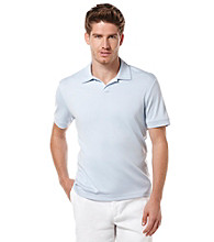 Perry Ellis® Men's Light Blue Short Sleeve Open Collar Polo