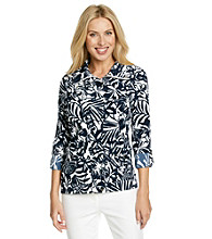 Laura Ashley® Navy Leaf Print Weekend Jacket