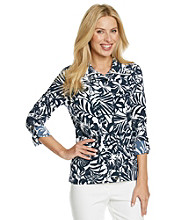 Laura Ashley® Petites' Navy Leaf Print Weekend Jacket