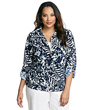 Laura Ashley® Plus Size Navy Leaf Print Weekend Jacket