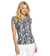 Laura Ashley® Navy Sketch Floral Ballet Neck Tee