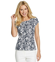 Laura Ashley® Petites' Navy Sketch Floral Ballet Neck Tee