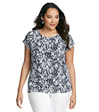 Laura Ashley® Plus Size Navy Sketch Floral Ballet Neck Tee