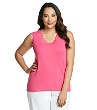 Laura Ashley® Plus Size Lace Trim Tank