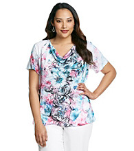 Laura Ashley® Plus Size Watercolor Scroll Sublimation Top