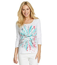 Laura Ashley® Petites' Exploded Floral Scoop Neck Tee