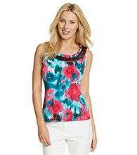 Laura Ashley® Petites' Water Garden Sequin Trim Tank