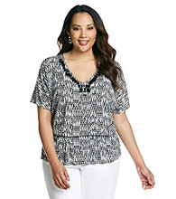 Laura Ashley® Plus Size Ikat Print Peplum Top