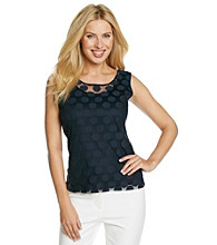 Laura Ashley® Petites' Navy Polka Dot Lace Tank
