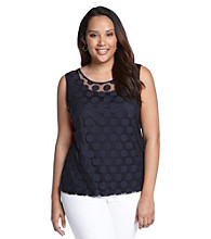 Laura Ashley® Plus Size Navy Polka Dot Lace Tank